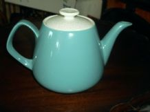 VINTAGE RETRO OLD FOLEY TEAPOT AQUA BODY CONTRAST SPECKLED GREY GEOMETRIC LID